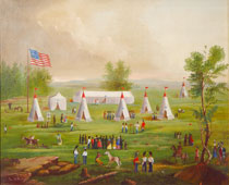 Painting of Portland Light Infantry Muster, ca. 1803